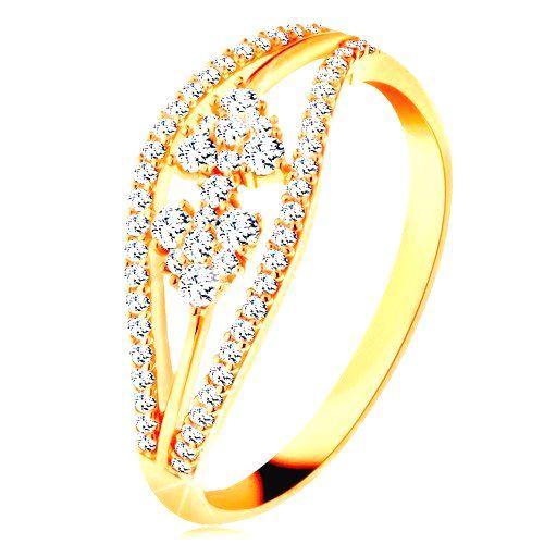 Prsteň zo žltého 14K zlata - zvlnené trblietavé línie a mašlička zo zirkónov - Veľkosť: 59 mm