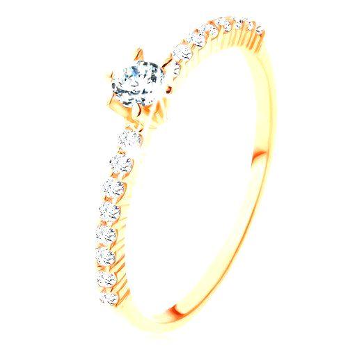 Prsteň zo žltého 9K zlata - číre zirkónové línie