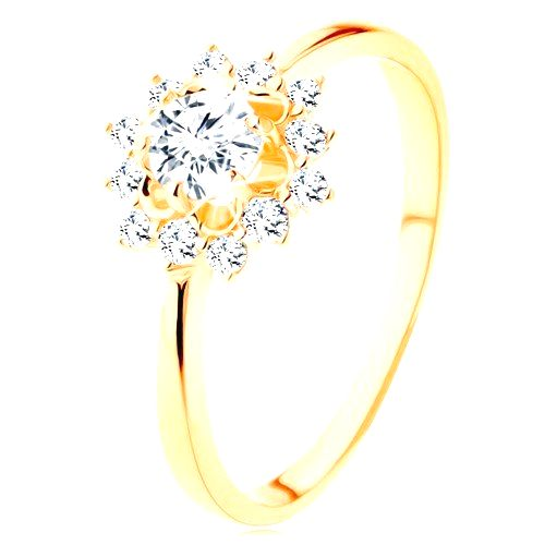 Prsteň zo žltého 9K zlata - číre zirkónové slnko