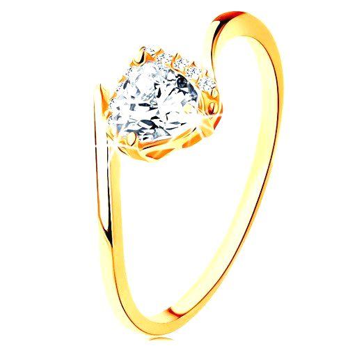 Prsteň zo žltého 9K zlata - číre zirkónové srdiečko