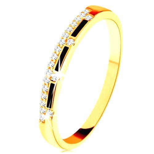 Prsteň zo žltého 9K zlata - pásy čiernej glazúry