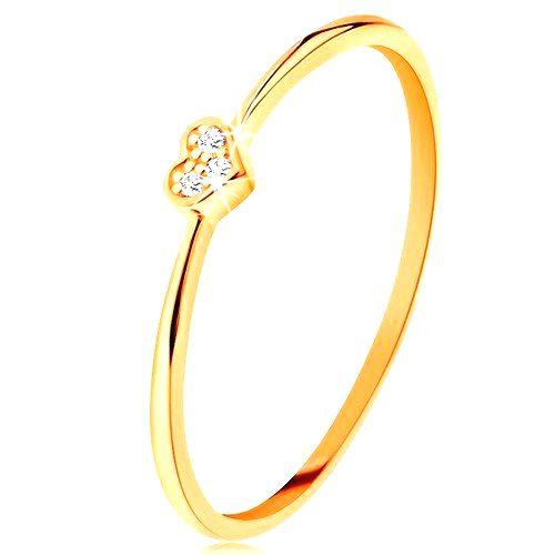 Prsteň zo žltého 9K zlata - srdiečko zdobené okrúhlymi čírymi zirkónmi - Veľkosť: 58 mm