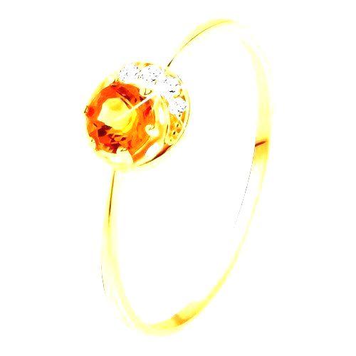 Prsteň zo žltého 9K zlata - úzky kosáčik mesiaca
