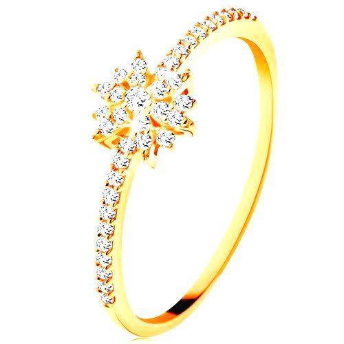 Prsteň zo žltého 9K zlata - žiarivý kvet z čírych zirkónov