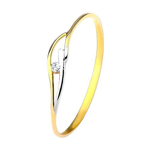 Prsteň zo žltého a bieleho 9K zlata