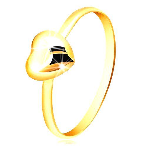 Prsteň zo žltého zlata 375 - úzka obrúčka a pravidelné zrkadlovolesklé srdiečko - Veľkosť: 53 mm