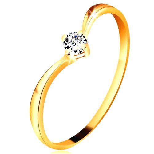 Prsteň zo žltého zlata 585 - lesklé zahnuté ramená