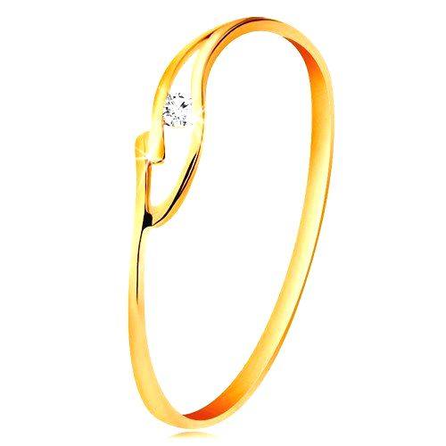 Prsteň zo žltého zlata 585 s trblietavým zirkónikom
