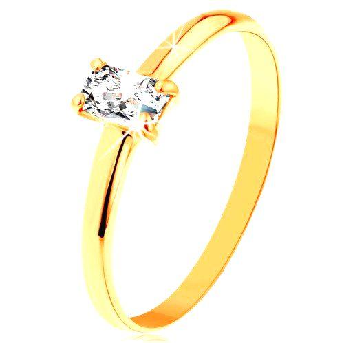 Prsteň zo žltého zlata 585 - vystupujúci zirkónový obdĺžnik