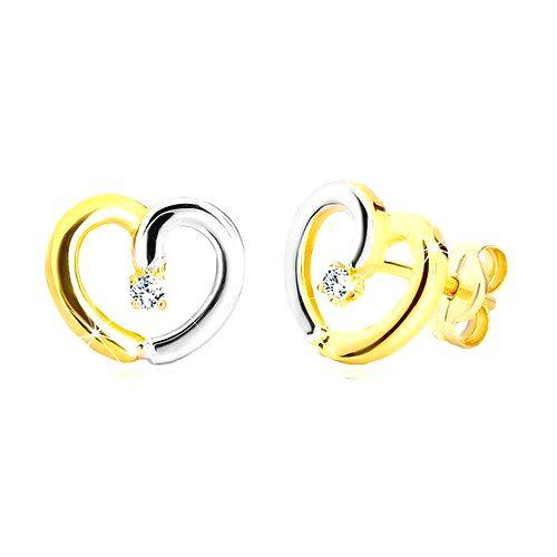 Puzetové náušnice v 14K zlate - dvojfarebná kontúra srdca so zirkónikom