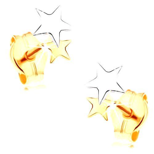 Puzetové náušnice v 14K zlate - lesklé dvojfarebné hviezdičky