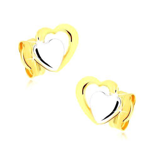 Puzetové náušnice v 9K zlate - dvojfarebné súmerné srdiečka