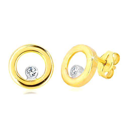 Puzetové náušnice v bielom a žltom zlate 585 - lesklý kruh so zirkónom