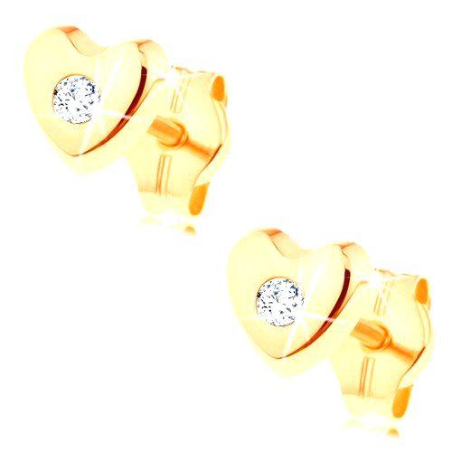 Puzetové náušnice v žltom 14K zlate - lesklé vypuklé srdiečko