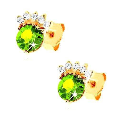 Puzetové náušnice v žltom 14K zlate - okrúhly olivín zelenej farby