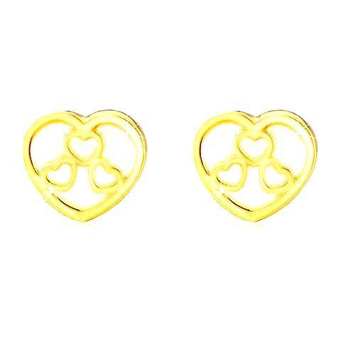 Puzetové náušnice v žltom 14K zlate - srdiečko s prírodnou perleťou a výrezmi