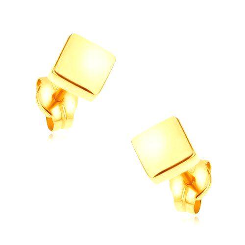 Puzetové náušnice v žltom 9K zlate - ligotavé štvorce