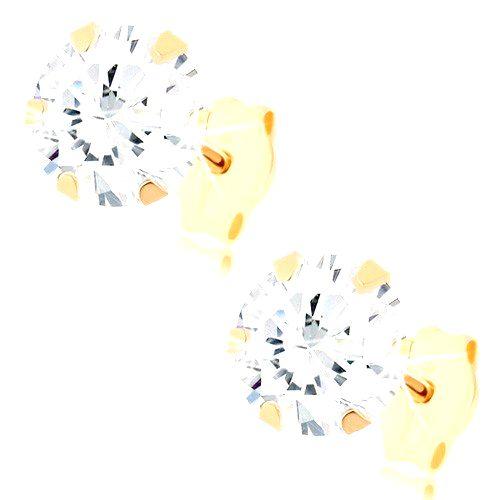 Puzetové náušnice v žltom 9K zlate - okrúhly zirkón čírej farby
