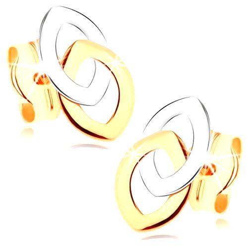 Puzetové náušnice z 9K zlata - dve prepojené kontúry zrnka