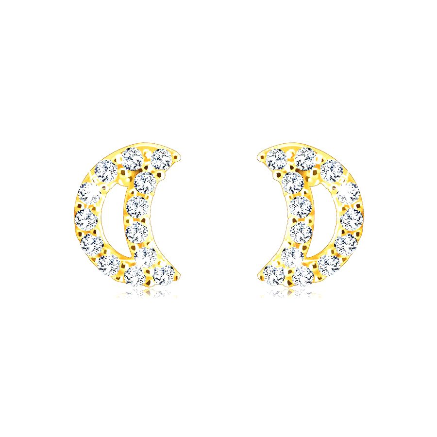 Puzetové náušnice z 9K zlata - polmesiac vykladaný okrúhlymi zirkónikmi