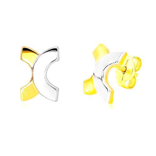 Puzetové náušnice zo 14K kombinovaného zlata - zaoblené písmeno X