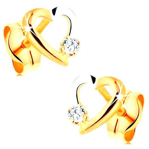 Puzetové náušnice zo 14K zlata - dvojfarebný obrys srdiečka s drobným zirkónom