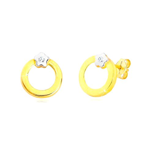Puzetové náušnice zo 14K zlata - kruh s kvietkom v bielom zlate