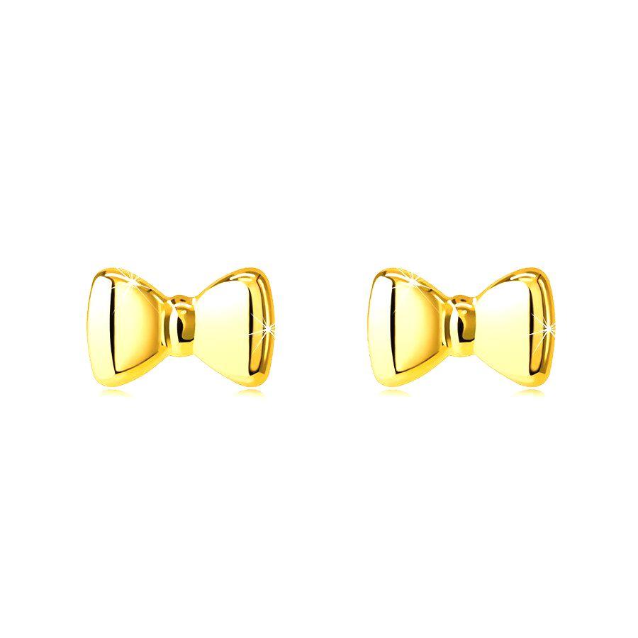 Puzetové náušnice zo 14K zlata - mašličky