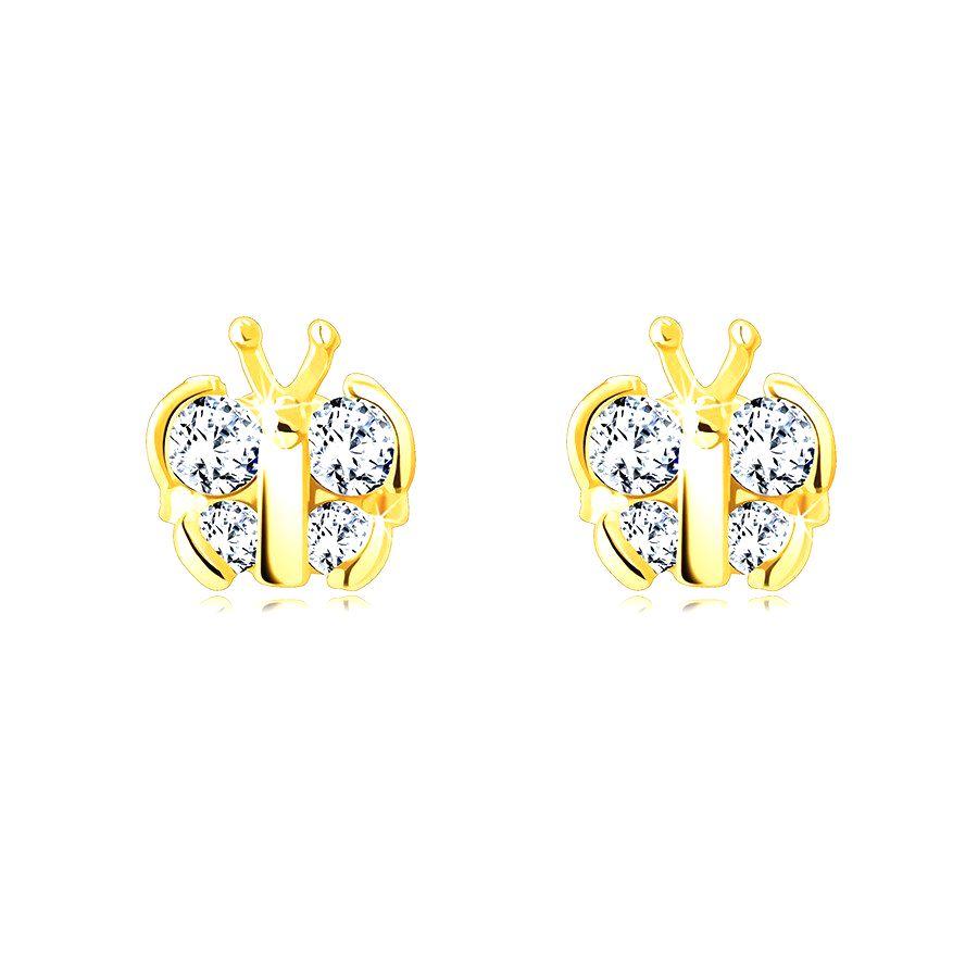 Puzetové náušnice zo 14K zlata - motýľ s trblietavými okrúhlymi zirkónmi
