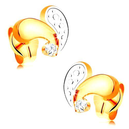 Puzetové náušnice zo 14K zlata - žltá a biela zahnutá slzička