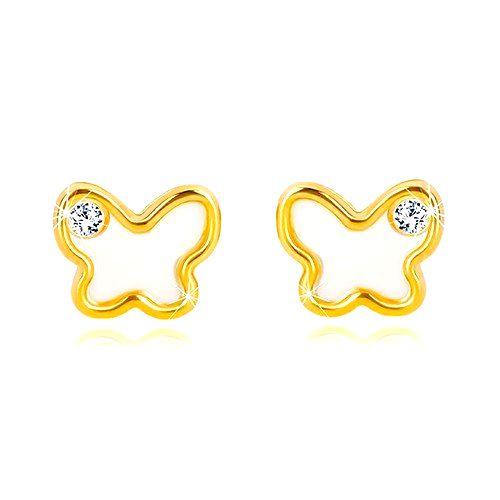 Puzetové náušnice zo 14K žltého zlata - motýlik s prírodnou perleťou a zirkónom