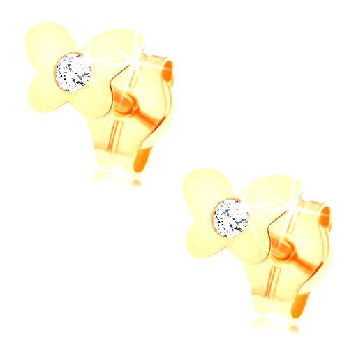 Puzetové náušnice zo žltého 14K zlata - lesklý plochý motýlik