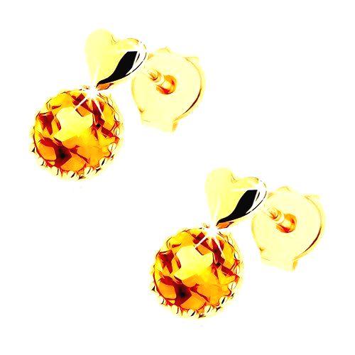 Puzetové náušnice zo žltého 14K zlata - malé vypuklé srdce