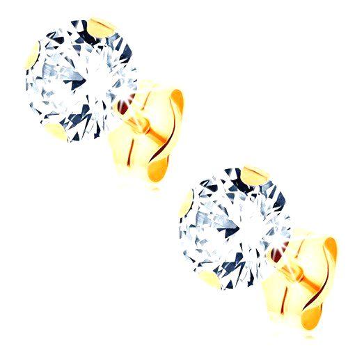 Puzetové náušnice zo žltého 14K zlata - okrúhly zirkón čírej farby