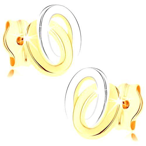 Puzetové náušnice zo žltého 9K zlata - dvojfarebné prepojené elipsy