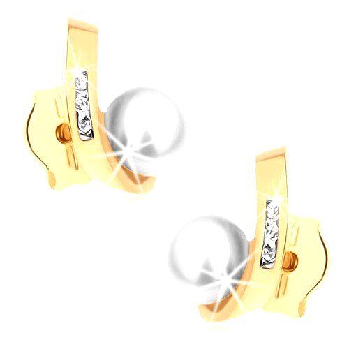 Puzetové náušnice zo žltého 9K zlata - guľatá perla