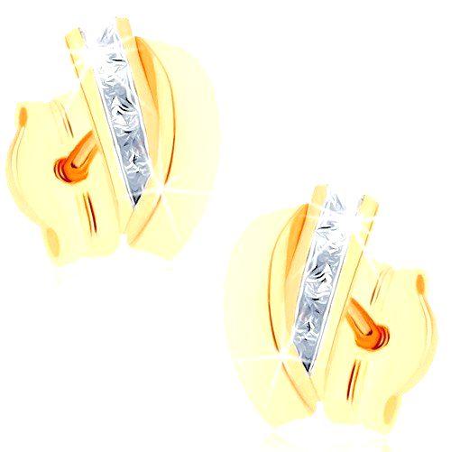 Puzetové náušnice zo žltého 9K zlata - pásik čírych zirkónov
