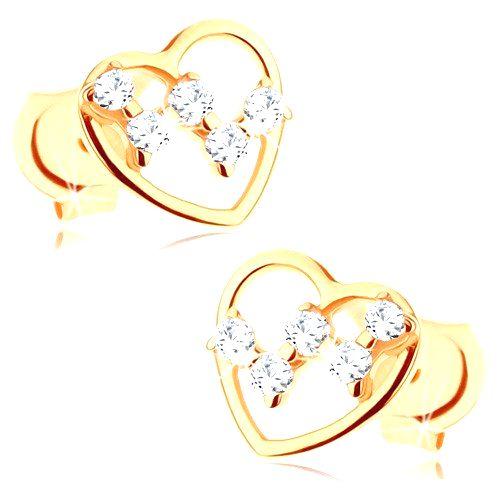 Puzetové náušnice zo žltého 9K zlata - tenký obrys srdca