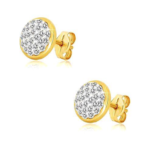 Puzetové zlaté náušnice 585 - kruh so vsadenými Swarovského krištáľmi