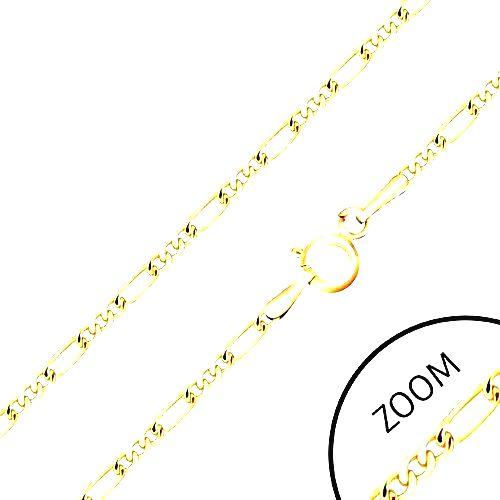 Retiazka v žltom 14K zlate - tri malé očká a jedno dlhšie