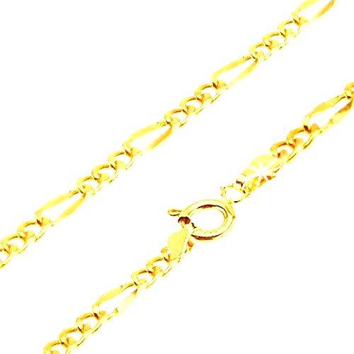 Retiazka v žltom 14K zlate - tri oválne očká
