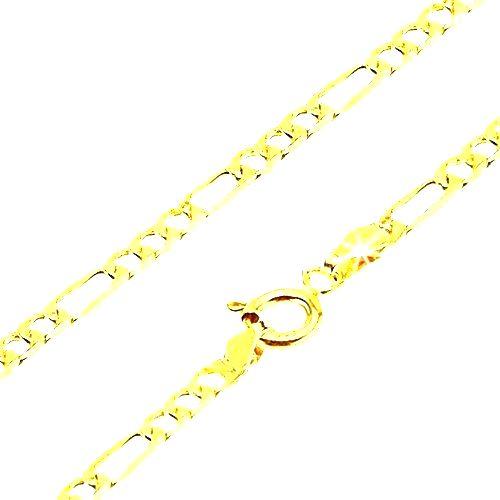 Retiazka v žltom 14K zlate - tri zarovnané očká a jedno dlhšie