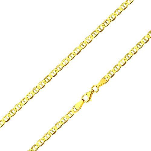 Retiazka zo žltého 14K zlata - lesklé oválne očká s paličkou uprostred