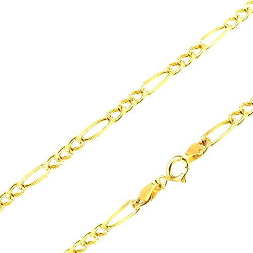 Retiazka zo žltého 14K zlata - tri malé očká a jedno podlhovasté