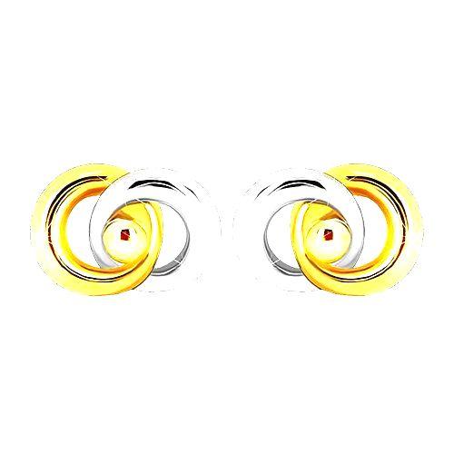 Ródiované dvojfarebné náušnice v 9K zlate - dva prepojené prstence