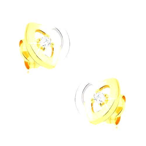 Ródiované dvojfarebné náušnice z 9K zlata - tulipán