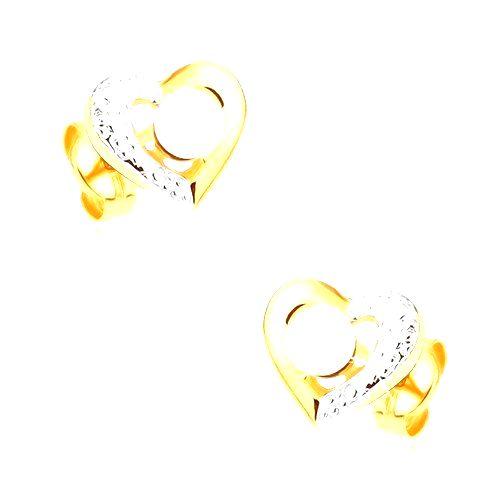 Ródiované náušnice z 9K zlata - dvojfarebná kontúra srdca