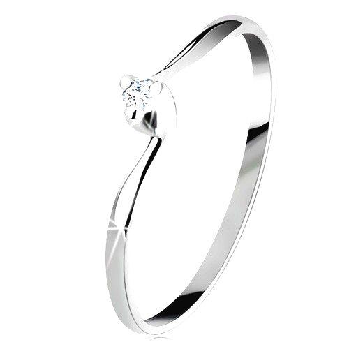 Zásnubný prsteň v bielom 14K zlate - číry brúsený diamant