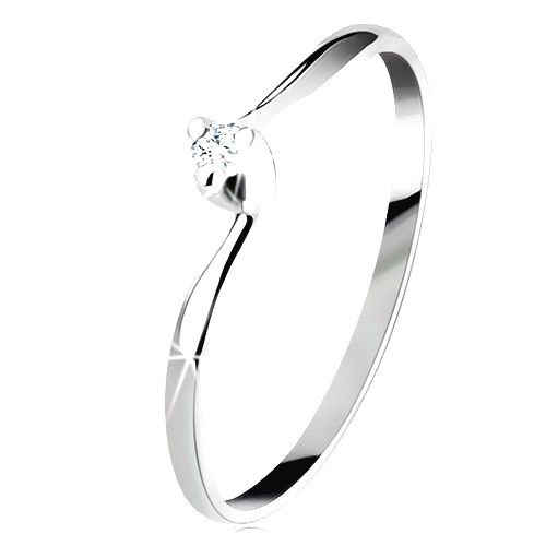Zásnubný prsteň v bielom 14K zlate - číry zirkón
