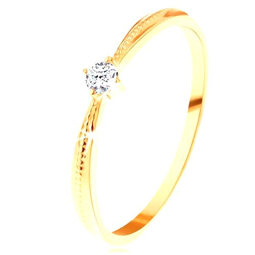 Zásnubný prsteň v žltom 14K zlate - okrúhly číry zirkón